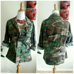 🔥Camoflauge Military Jacket Shirt This authentic camo jacket/shirt is on the 2016 whattowear.coms trend list. Had it in moms closet and exploded when i saw one like it on the??site:) Hers was nicer & more feminine too. Can be paired w/ distress jeans and a tank. Item in perfect condition w/ no flaws & worn once. Slight distressing on covered buttons but it was purchased new like that. Excellent item for a stylish diva. True to size. Make me an offer. Sales for $80 plus online. Vintage…