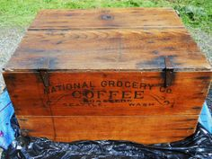 Advertising Seattle COFFEE Crate Wood Shipping Huge Box Rare C Antique Trunk Vintage Country General Store Western Americana Vintage Crates, Vintage Wood, Old Wooden Boxes, Antique Boxes, Wood Boxes, Cure, Seattle Coffee, Coffee Shop Logo, Coffee Box