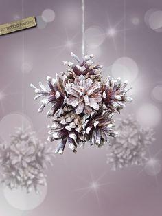PINECONE ORNAMENTS   pinecone snowflake christmas ornament   christmas