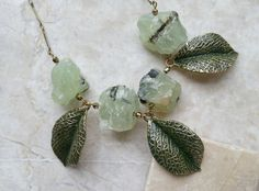 Nature Leaf Necklace w/ Prehnite Rough Natural Stones - Green Hand Painted Leaves, Rock Candy Nature Goddess Necklace - Crystal Jewelry