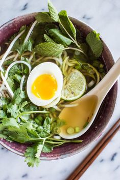 Quick Vegetarian Pho with Zucchini Noodles - an easy pho recipe that anyone can make! This dish is healthy, gluten-free and paleo   healthynibblesandbits.com