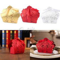 100 x Red Laser Cut Hollow Candy Box Wedding Party Favors Gift Bags with Ribbon #Unbranded