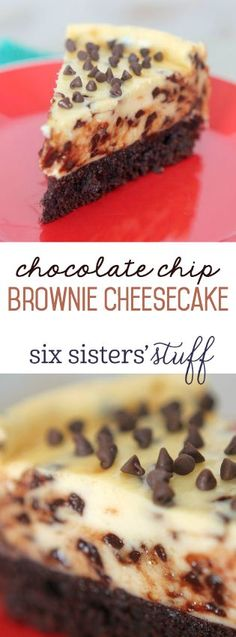 This Chocolate Chip Brownie Cheesecake Recipe from SixSistersStuff.com is absolutely AMAZING!