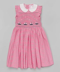Emily Lacey Pink Stripe Boat Smocked Dress - Infant, Toddler & Girls   zulily