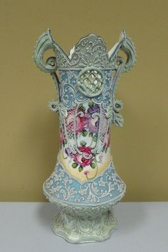 Large Antique Nippon Moriage Floral Vase 12 inches Japanese