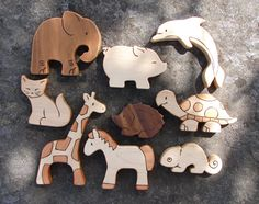 PICK ANY FOUR Wooden Toy Animals Wood Toys by SnapdragonToyCo