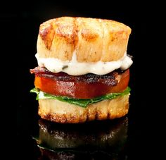 BLT with scallops instead of bread. I don't see an actual recipe but I think I can pull this together. Looks delish! Definitely homemade aioli.