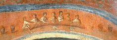 Banquete. Catacumba de Priscila. Roma. S. II. Arte Paleocristiano.