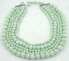 Celadon Green Art Glass Beads 5-Strand Necklace - Garden Party Collection Vintage Jewelry