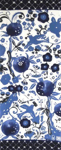Japanese Tenugui Towel Fabric, Hazy Moon, Pomegranate, Bird, Home & Living, Hand Dyed blue Fabric, Kitchen Dining, Home Decor Wall Art, JapanLovelyCrafts