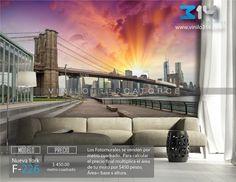 Fotomurales ciudad skyline NY Nueva York puente de Brooklyn bridge blanco y negro (Tapiz) (mural) (fotomural) Decoración de muros y superficies lisas. Vinilo 314 Guadalajara Mexico.   www.vinilo314.com