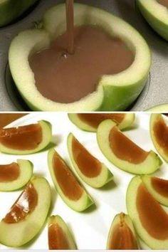 Caramel filled apple slices
