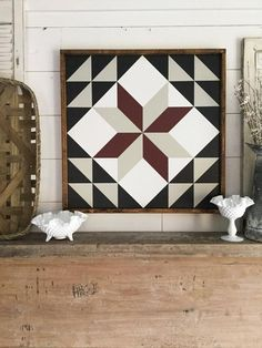 Meadow Star Barn Quilt custom colors available Barn Quilt Designs, Barn Quilt Patterns, Quilting Designs, Painted Barn Quilts, Wood Images, Mosaic Designs, Hand Painted Signs, Diy Wall Art, Square Quilt