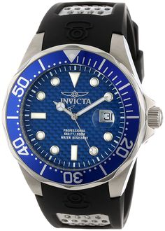 Invicta Men's 12559 Pro Diver Blue Carbon Fiber Dial Black Polyurethane Watch >>> Details can be found by clicking on the image.
