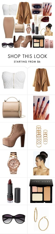 A fashion look from November 2015 featuring cotton crop top, brown sweater coat and lace up platform bootie. Browse and shop related looks. Monki, Vince Camuto, Bobbi Brown, Charlotte Russe, Boohoo, Givenchy, Idol, Forever 21, Michael Kors