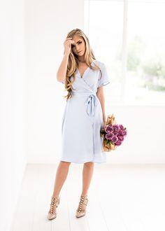 Annie Midi Dress in Powder Blue, jessakae, wedding attire, bridesmaids, floral, fashion, style, blogger, bow, southern style, modest, summer dress, wedding, floral, maternity friendly, nursing friendly, mother of the bride
