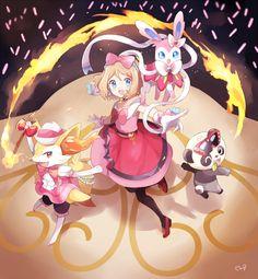 Pokémon - Serena and her Braixen, Pancham and Sylveon