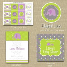 Cute purple & green elephant baby shower