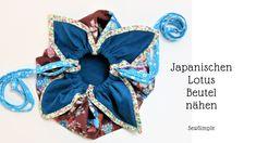 Japanischen Lotus Beutel nähen Häkelanleitung Baby, Stoff Design, Cute Quilts, Little Things, Cosmetic Bag, Pop Art, Purses, Lotus, Band