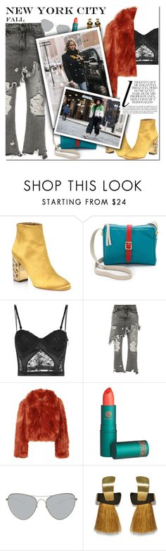 """""""How to Style Grey Jeans with a Lace Crop Top, Rust-Colored Fur Coat and Yellow Satin Booties for NYC in the Fall"""" by outfitsfortravel ❤ liked on Polyvore featuring Aquazzura, Clare V., La Perla, R13, Maison Margiela, Lipstick Queen, Lizzie Fortunato and Whiteley"""