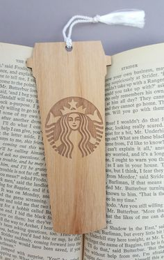 Starbucks Cup Bookmark Laser Engraved Alder Wood by JuniperandIvy