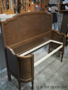 the french bench. – q is for quandie French Bench, Vintage Headboards, Trim Board, Bench With Back, Neat And Tidy, Next Door, Grandmothers, Take A Seat, Furniture Redo