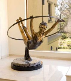 Bronze Human Figurative #sculpture by #sculptor Heidi Hadaway titled: 'JoyLife (Bronze size Girl Gymnast Sculpture or statue for sale)' #art