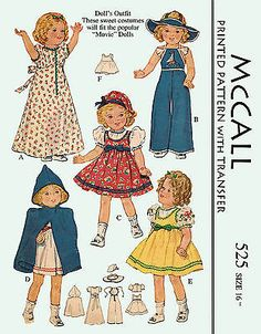 Sewing Retro Patterns Vintage Doll Clothes PATTERN 525 for 16 in Shirley Temple Judy Garland by Ideal - Baby Clothes Patterns, Doll Sewing Patterns, Mccalls Patterns, Vintage Sewing Patterns, Clothing Patterns, Doll Wardrobe, Before Us, Vintage Dolls, Just In Case