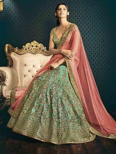 Sea Green Silk Lehenga Choli with Embroidery Work