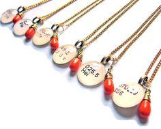 For my bridesmaids - Dewey Decimal necklaces with teardrop in wedding colors.