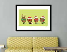 Discover «christmas hedgehogs», Numbered Edition Fine Art Print by Igor Karpov - From $20 - Curioos