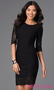 Buy Short Scoop Neck Lace Embellished Dress with Half Sleeves at PromGirl