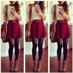 Follow me for more cute fashion idea @oliviabbradley . Fashion ♡ black tights  brown curly hair -  outfit  clothes,  #red skirt
