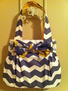 The Abby bag in gray chevron purse with yellow by UniquelyFMD, $40.00