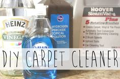 DIY Carpet Cleaner for Steam Cleaner - 1 cup hydrogen peroxide, 1/2 cup white vinegar, 1/4 cup Dawn, essential oils (I used eucalyptus and spearmint).  Fill dispenser with this solution and fill water dispenser with hot water.