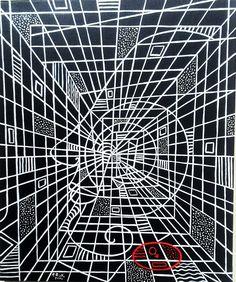 1. Labyrinthe – 55X46 – Acrylique +laque Glycéro