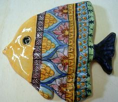 Mural fish in maiolica.From original die done by me painted to hand. D.M.G