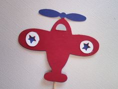 12 Red & Blue Airplane Cupcake Topper Picks by DKDeleKtables, $8.00