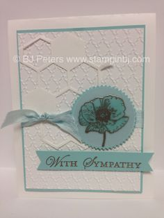 Happy Watercolor sympathy card from Stampin' Up!  Also uses Hexagon Hive Thinlit.  Details on my blog;  http://stampinbj.com/elegant-sympathy  BJ Peters