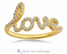 Ziamond Love Ring with Pave Diamond Look Cubic Zirconia in a cursive font that spells the word love! The ring is set in yellow gold and is the perfect Valentine's Day Gift! Love Promise, Promise Rings, Valentine Day Special, Pave Ring, Cubic Zirconia Rings, Eternity Bands, Gifts For Mom, Bridal Jewelry, Gold Rings