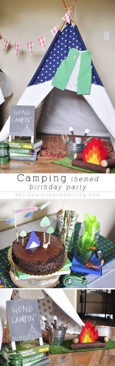themed Birthday Party A fun and simple Camping themed Birthday Party! Great for imaginative play afterwards, too. A fun and simple Camping themed Birthday Party! Great for imaginative play afterwards, too. Flamingo Party, Boy Birthday Parties, Birthday Fun, Birthday Ideas, Camping Parties, Camping Theme, Camping Tips, Party Decoration, Decorations