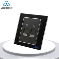 Free Shipping Telephone and Computer Sockets TEL and COM Wall Socket Plugs Black Crystal Glass Panel 2 Gang