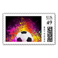 Shop Colorful Neon Soccer Ball Postage Stamp created by solargil. Gifts For Football Fans, Soccer Gifts, Soccer Birthday Parties, Soccer Inspiration, Soccer Ball, Postage Stamps, Best Gifts, Colorful, Lettering