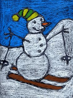 Snowman on Skis | Tutorial for drawing this in 8 steps.  Chalk on black paper, then white glue over the drawing lines.  Let dry, then use chalk or oil pastels to color in the raised lines.  Adorable!