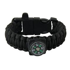 Hatop Survival Bracelet With Watch Compass Flint Fire Starter Scraper Whistle Gear Black *** Visit the image link more details.