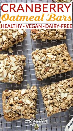 Easy Cranberry Oatmeal Bars from my Healthy Eating One-Pot Cookbook are great for dessert or breakfast! Make them with whole grain oats and whole wheat flour, coconut oil, and maple syrup. When I think about all of the recipes in my new Healthy Eating One-Pot Cookbook, there are two that jump out as being my favorite: Instant Pot Red Curry Ramen and Cranberry Oatmeal Bars.   @HealthyDelish #laurenkeating #healthycookbooks #healthysnacks #healthycranberrybars #healthycomfortfood Oatmeal Bars Healthy, Healthy Waffles, Healthy Snacks, Healthy Eating, Healthy Cook Books, Dairy Free Breakfasts, Whole 30 Breakfast, Vegan Smoothies, Healthy Comfort Food