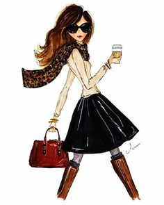 Fashion Illustration Print, The Fall Girl, by anum<<looks like aria from pll Fashion Art, Girl Fashion, Fashion Design, Style Fashion, Preppy Fashion, Paper Fashion, Fashion Models, Winter Fashion, Illustration Mode