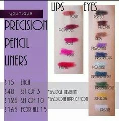Precision Pencil Liners!!!!  Available September 1!!!!!  youniqueproducts.com/stacyoj