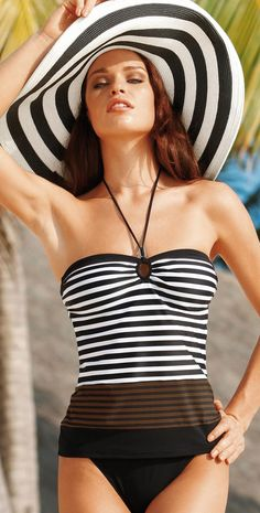 This Sunflair striped tankini is a two piece swimsuit. The tankini top offers soft cups and has a neck strap detail that you can tie at neck or at front for a strapless no tan line option. The tankini bottom is a sold black pant that offers full coverage. Fun One Piece Swimsuit, Maternity Swimwear, Designer Swimwear, Resort Wear, Spring Summer Fashion, Beachwear, Bathing Suits, Summer Outfits, Outfits