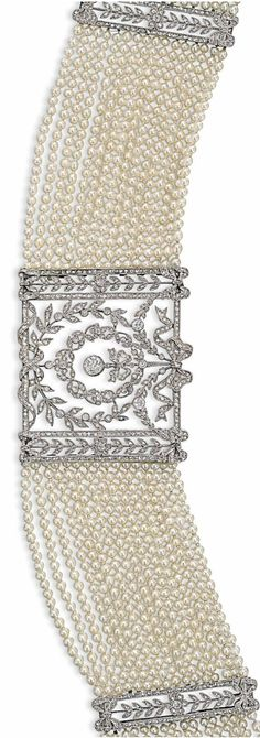 AN EDWARDIAN PEARL AND DIAMOND CHOKER NECKLACE, CIRCA 1905. Composed of a central pierced panel millegrain-set with circular and rose-cut diamonds in a wreath and bow design, with swag and flowerhead detail, to the multi-row seed pearl necklace, further set with two similarly designed diamond spacer panels and clasp. #Edwardian #choker